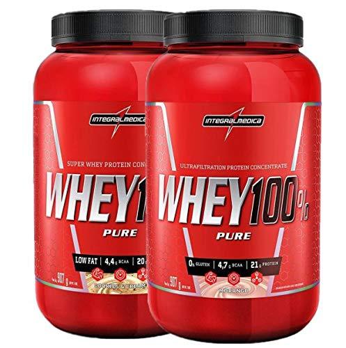 kit 2x Whey 100% Pure 907g Cookies E Morango Integralmedica