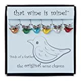 Wine Things 6-Piece Birds of a Feather Wine Charms, Painted