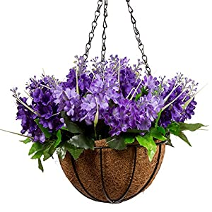 Mixiflor Lavender Artificial Hanging Flowers, Artificial Hanging Planets Silk Flower, Hanging Basket with Chain Flowerpot For Home Outdoor Decoration 120