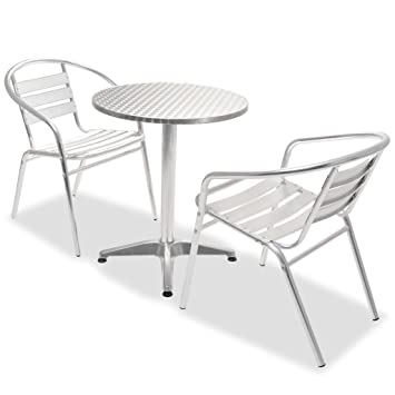 vidaXL Bistro 3 pcs Table Ronde Chaises Empilables Aluminium Salon ...