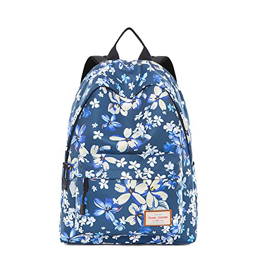 Schoolbag Breeze Shoulder Printed Suit Fresh 32x16x39cm College blue Blue Bag Flowers Female wFxdxYI