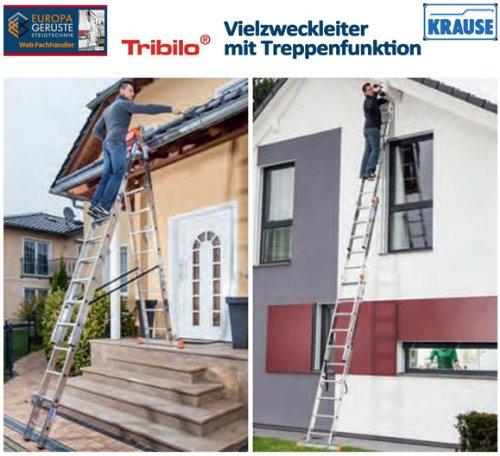 Mehrzweckleiter mit Treppenfunktion Krause Tribilo 3x10 Sprossen Vielzweck