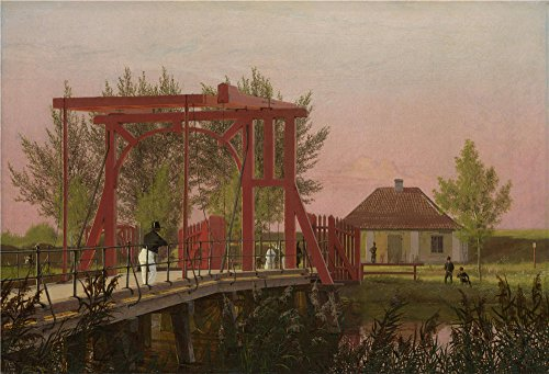 Oil Painting 'Christen Kbke - The Northern Drawbridge To The Citadel In Copenhagen,1837' 30 x 44 inch / 76 x 112 cm , on High Definition HD canvas prints, gifts - Los Angeles Citadel In