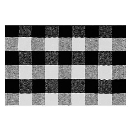 (Black& White Plaid Cotton Porch Rug | Buffalo Check Kitchen Rugs Braided Rug for Kitchen Bathroom Entry Way 2'x3' Door Mat)