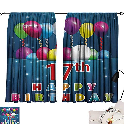 Jinguizi 17th Birthday Curtain Kids Birthday Seventeen with Colorful Balloons on Blue Colored Backdrop Image pop Darkening Curtains Multicolor W55 x L39 by Jinguizi (Image #6)