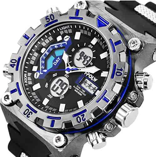Sport Digital Watch Wrist Water Resistant Military Stopwatch Alarm Date LCD Back Light SIBOSUN Dual Zone