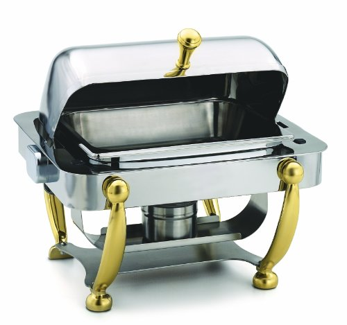 (Alegacy AL530A Stainless Steel Savoir Half Size Dome Cover Chafing Dish with Brass Legs, 17 by 15-1/8 by 15-5/8-Inch)