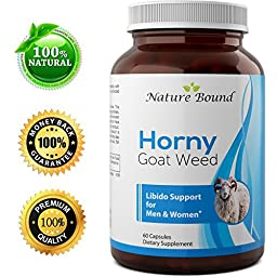 Pure Horny Goat Weed Extract with Maca Powder – Libido Support – Helps Increase Drive & Energy – Natural Supplement for Men and Women – Tongkat Ali + L-Arginine – 60 Capsules – By Nature Bound