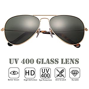 O-LET Aviator Sunglasses for Men Women UV400 Glass Lens Mens Sunglasses Aviators