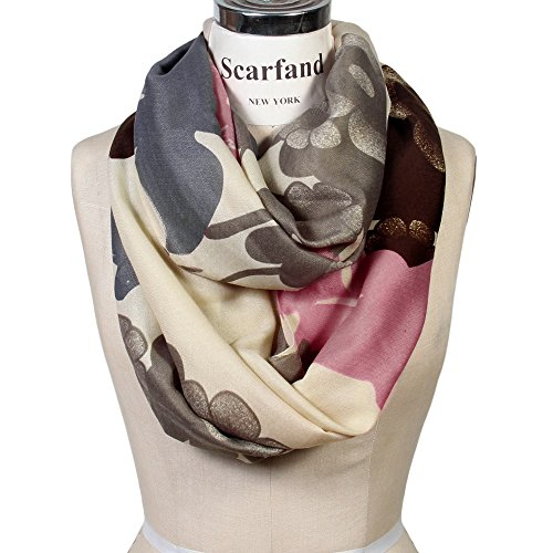 Scarfand Vibrant Painting Artistic Print Infinity Scarf (Floral Beige)
