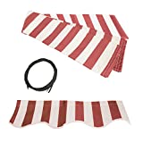 Poweka Awning Fabric Replacement 12x10 Ft for Retractable Awning, RED/WHITE STRAP