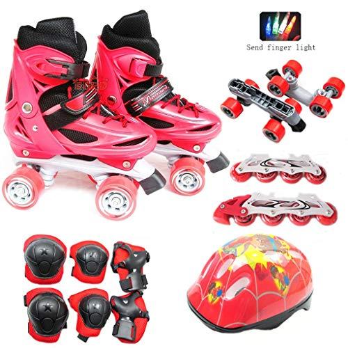 小包洗う動力学LIUXUEPING ローラースケート、 スケート、 2つの目的のスケートで2つ、 子供のダブル列ストレート 自由に変更する キラキラローラースケート 調整可能なローラースケート
