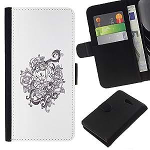 All Phone Most Case / Oferta Especial Cáscara Funda de cuero Monedero Cubierta de proteccion Caso / Wallet Case for Sony Xperia M2 // Floral Wreath White Black Flowers