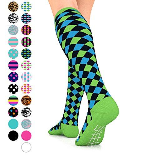 Go2Socks GO2 Compression Socks for Women Men Nurses Runners 15-20 mmHg (Medium) - Medical Stocking Maternity Travel - Best Performance Recovery Circulation Stamina (HarlBlackGreenBlue,S)