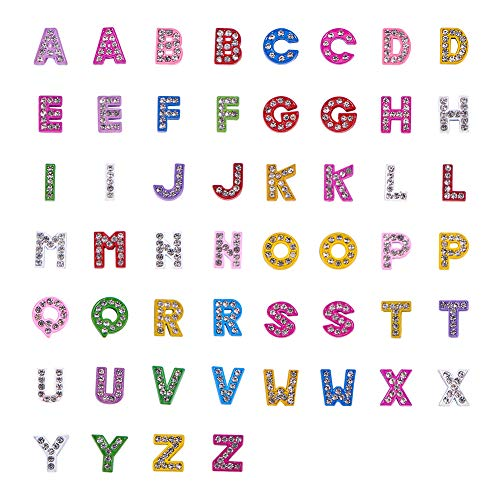 (PH PandaHall 52pcs Zinc Alloy Grade A Rhinestone Alphabet A-Z Slide Charms Letters Slide Beads Charms for DIY Craft Flat Bracelet Wristbands Necklace Choker Jewelry)