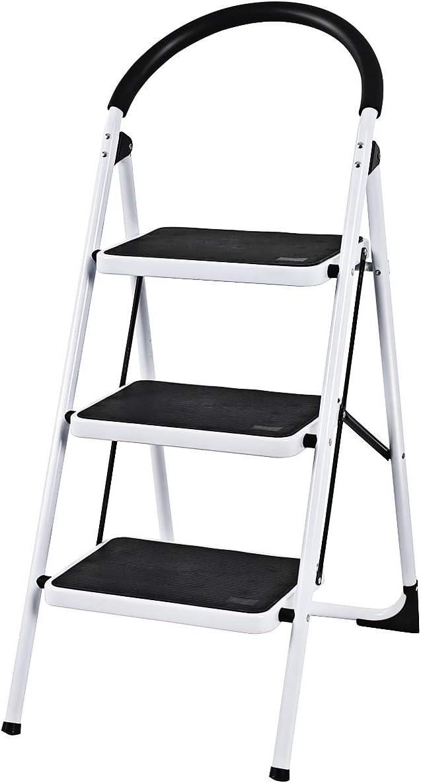 Steel Step Ladder Folding Stepladder Lightweight Anti-Slip Rubber Mat Iron Strong Safe Stool for Home Office Kitchen 2 Tread