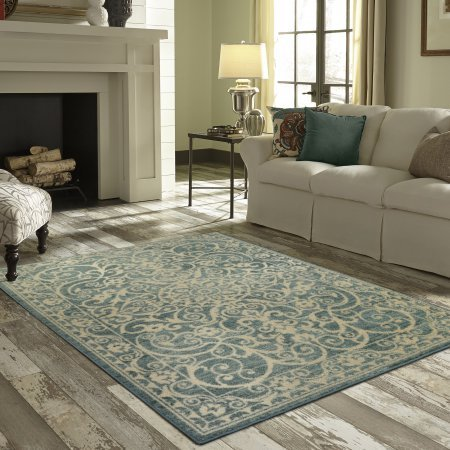 Mainstays India Textured Print Area Rug or Runner Collection, Light Spa, 1'8''x2'10''