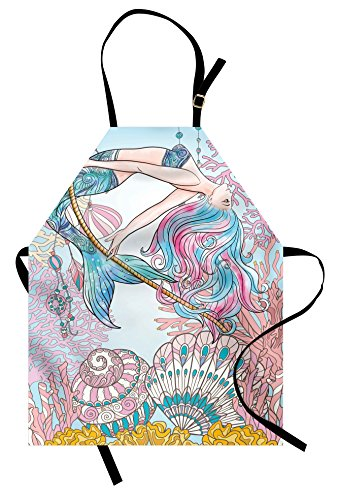 Mermaid Apron by Ambesonne, Cartoon Mermaid in Sea Sirens of Greek Myth Female Human with Tail of Fish Image, Unisex Kitchen Bib Apron with Adjustable Neck for Cooking Baking Gardening, Pink Blue