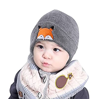 Baby Children Cap Fashion Cute Boys Girls Fox Warm Winter Hats Knitted Wool Hemming