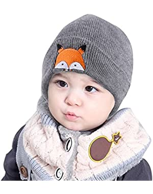 Children Baby Cap Cute Soft Warm Winter Knitted Wool Hemming Hats- Cute Fox Print