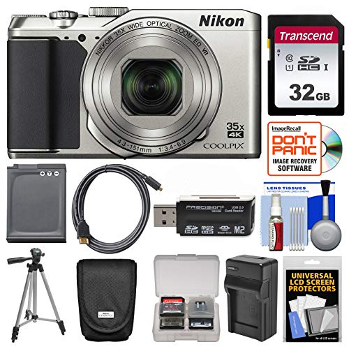 Nikon Coolpix A900 4K Wi-Fi Digital Camera (Silver) with 32GB Card + Case + Battery + Charger & Tripod + Kit