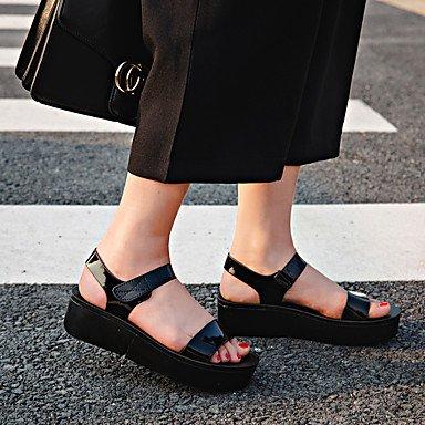 pwne Sandalias De Mujeres El Consuelo De Verano Pu Caminar Al Aire Libre El Talón De Cuña Gris Plata Negro Hebilla US8 / EU39 / UK6 / CN39