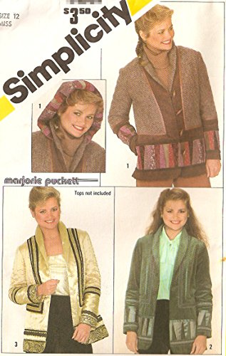 - Simplicity vintage 1980s sewing pattern 5287 designer quilted jacket - Size 12