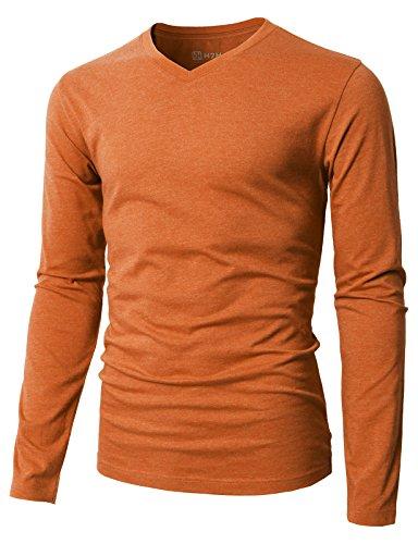 (H2H Mens Casual Premium Soft Cotton Long Sleeve V-Neck Top Orange US L/Asia XL (KMTTL0374))
