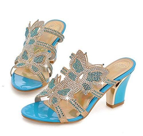 Talon Brillant Femme Haut Strass Bleu Bloc à Aisun Mules Sandales q6UFZq