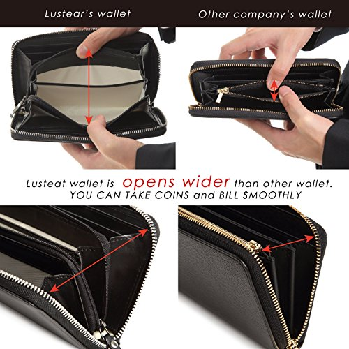 Lustear Women's Zip Around Long Wallets With Zipper Coin Purse (Black×Red) by Lustear (Image #4)