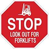 """Brady 124510 Traffic Control Sign, Legend """"Stop Look Out For Forklifts"""", 18"""" Height, 18"""" Width, White on Red"""