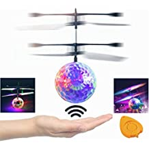 Mansalee RC Toy, RC Flying Ball, RC infrared Induction Helicopter Ball with Rainbow Shining LED Lights For Kids, Flying Toy for Boys and Girls (crystal)