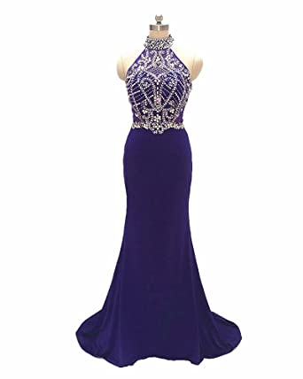 Forelsket Prom Dresses 2017 Halter Beaded mermaid dresses (6, purple)