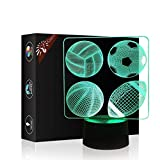 4 Kind of Sport Balls 3D Birthday Gift Illusion Beside Table Lamp, Gawell 7 Color Changing Touch Switch Decoration Lamps Baby Gift with Acrylic Flat & ABS Base & USB Cable Sports Theme Toy