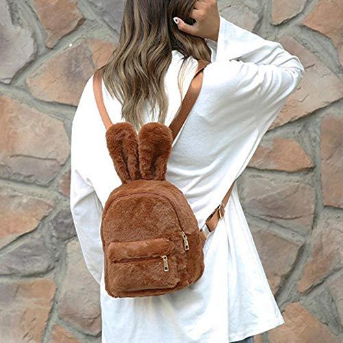 la de Viaje de Mini de de Felpa Bolso de del Marrón Conejo Imitación Piel Mochila Hombro la Orejas Wideiwnguk Linda wqwp15I