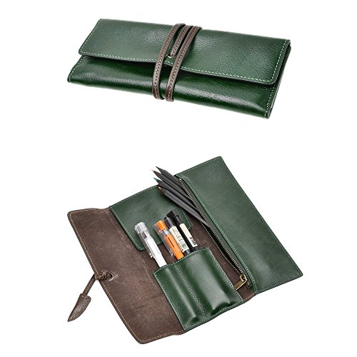 ZLYC Handmade Leather Pen Case Pencil Holder Soft Roll Wrap Bag Pouch Stationery Gift for Students (Green)