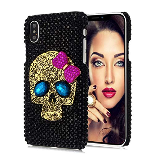 Jesiya for iPhone XR Skull Case, Luxury 3D Shiny Crystal Sparkle Rhinestone Metal Crossbones/Skull Head Back Ultra Thin Hard PC Bling Diamond Glitter Case for iPhone XR