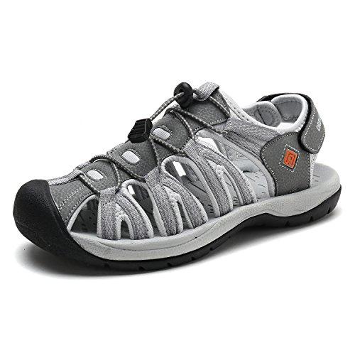 DREAM PAIRS Men's 160912-M-NEW Grey Orange Adventurous Summer Outdoor Sandals Size 13 M US
