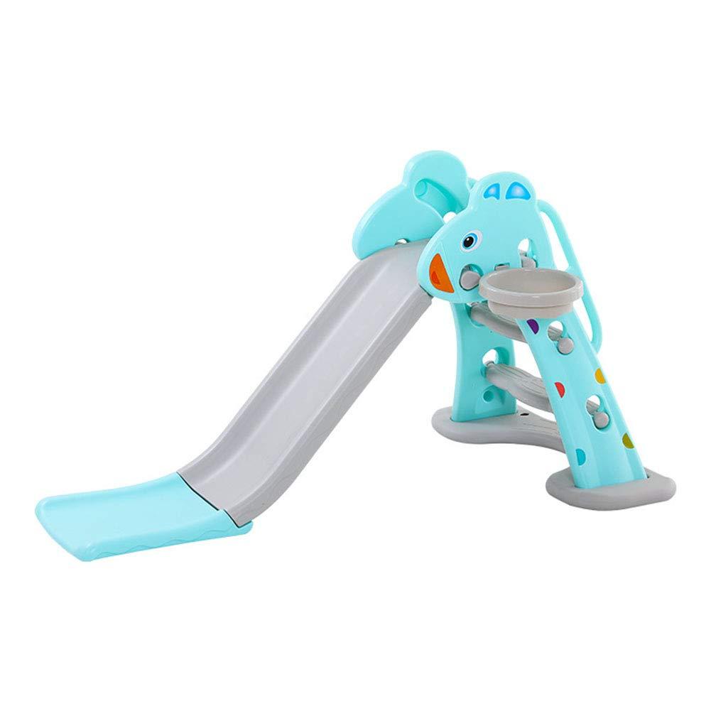 すべり台 遊具 すべりだい 室内 室外 子供 誕生日 プレゼント バスケットゴール 折り畳み式、収納便利 多機能世帯 27歳に最適 青 B07Q31174T