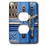 3dRose Danita Delimont - Lisbon - Portugal, Lisbon. Blue door, chain lock, Hand of Fatima door knockers. - Light Switch Covers - 2 plug outlet cover (lsp_249438_6)