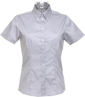 KUSTOM KIT- Camisa Oxford de Manga Corta de Empresa para Mujer (50) (Gris Plata): Amazon.es: Ropa y accesorios