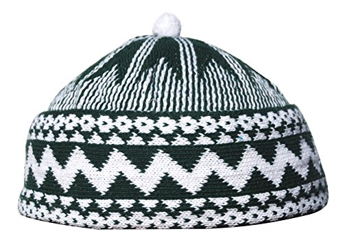 Warm Dark Forest Green Zigzag Design Muslim Beanie Kufi Hat Crown with White Ball - Stretchable Onesize - Zig Green Zag