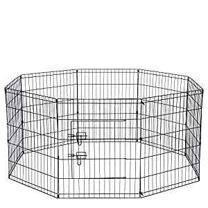 Dog Exercise Pen Pet Playpens for XX-Large Dogs – Puppy Playpen Outdoor Back or Front Yard Fence Cage Fencing Doggie Rabbit Cats Playpens Outside Fences with Door – 48 Inch Metal Wire 8-Panel Foldable