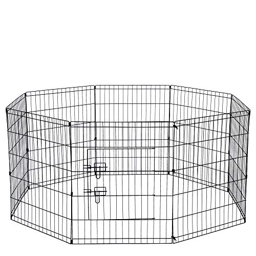 Zinc Dog Exercise Pen - Dog Exercise Pen Pet Playpens for XX-Large Dogs - Puppy Playpen Outdoor Back or Front Yard Fence Cage Fencing Doggie Rabbit Cats Playpens Outside Fences with Door - 48 Inch Metal Wire 8-Panel Foldable