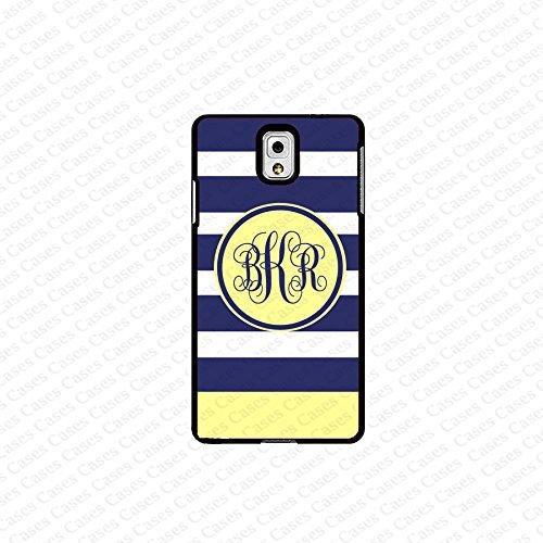 krezy case monogram Galaxy Note 4 case- monogram Personalized blue and yellow stripes samsung Galaxy Note 4 case...