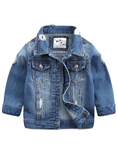 Baby Boys' Basic Denim Jacket Button Down Jeans Jacket Top Style2 Lightblue 100