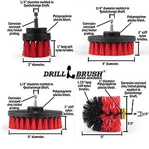 Stiff Bristle Nylon Cordless Drill Powered Spinning Brush Heavy Duty Scrubbing 4 Brush Kit