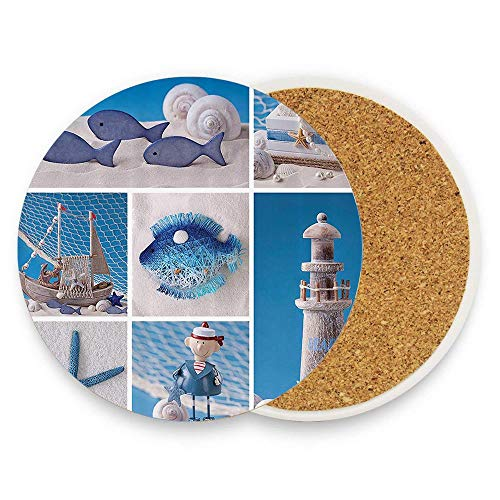 MichelleSmithred Marine Theme Design Objects Fishes Shells Starfishes Pearls Lighthouse Sailboat Ceramic Coaster Absorbent Stone Coaster for Coffee Mug Glass Cup Mat 1 Piece