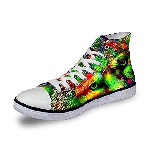 Voor U Ontwerpen Mode Dierenprint Comfortabel Hoge Top Canvas Dames & Heren Sneakers Veterschoen Wolf