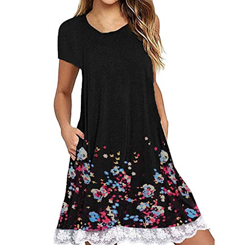 - WANQUIY Ladies Summer Dresses Casual Short Sleeve O Neck Pocket Lace Loose Mini Party Dress Black